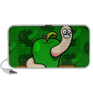 Happy Worm in Green Apple Laptop Speaker