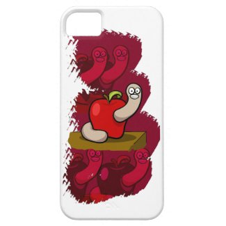 Happy Worm in Red Apple iPhone 5 Cover