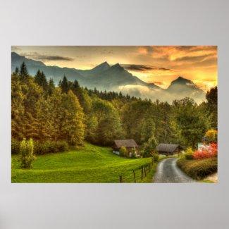 Hasliberg Switzerland sunset and Swiss mountains Poster