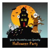 Haunted House Halloween Square Invitation