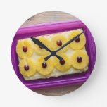 Hawaii slices with pineapple on rustic wood round wallclocks