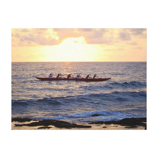 Hawaiian Outrigger Canoe at Sunset Canvas Print
