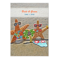 Hawaiian Starfish Couple Wedding Invitation