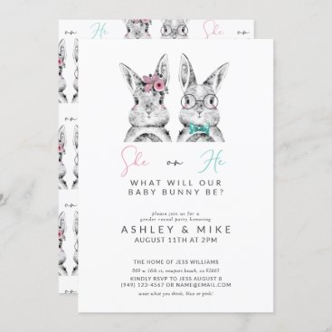 He or She What Will Baby Be Gender Reveal Bunny Invitation