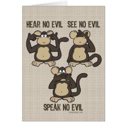 Hear No Evil Monkeys - New Card
