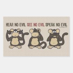 Hear No Evil Monkeys - New Rectangular Sticker