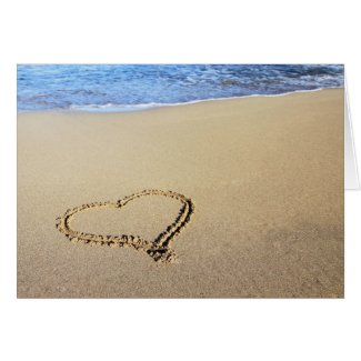 Heart in Sand Greeting Card