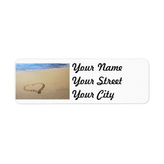 Heart in Sand Labels
