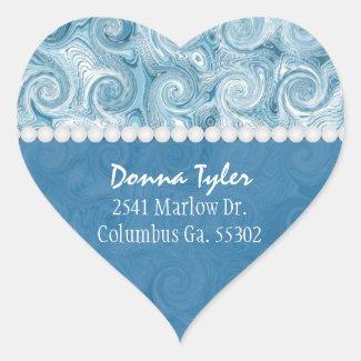 Heart Shaped: Beachy Blue Swirls: Address Stickers