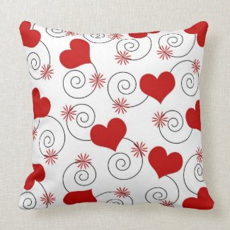 Hearts and swirls throwpillow
