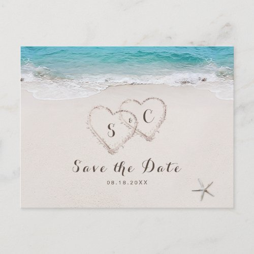 Hearts in the sand beach save the date announcement postcard