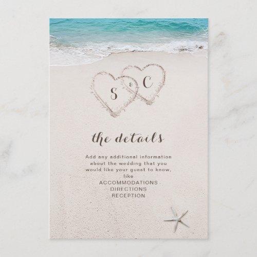 Hearts in the sand destination beach wedding enclosure card