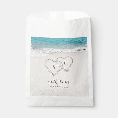 Hearts in the sand destination beach wedding favor bag