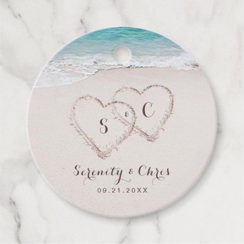 Hearts in the sand destination beach wedding favor tags