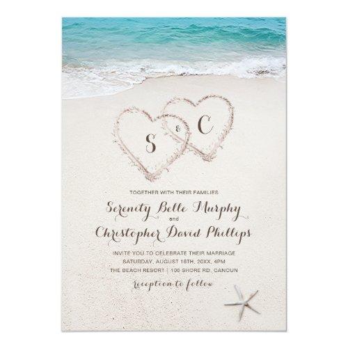 Hearts in the sand destination beach wedding invitation