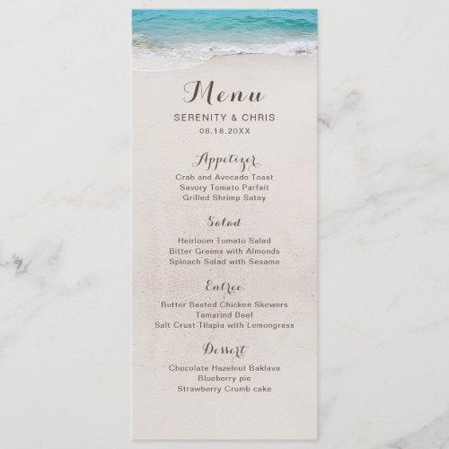 Hearts in the sand destination beach wedding menu