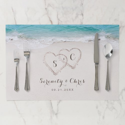 Hearts in the sand destination beach wedding paper placemat