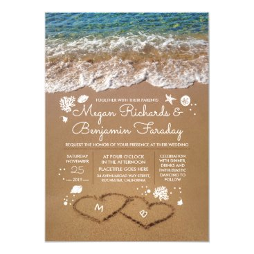 Hearts in the Sand Summer Beach Wedding Invitation