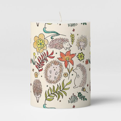 Hedgehog Field Pillar Candle