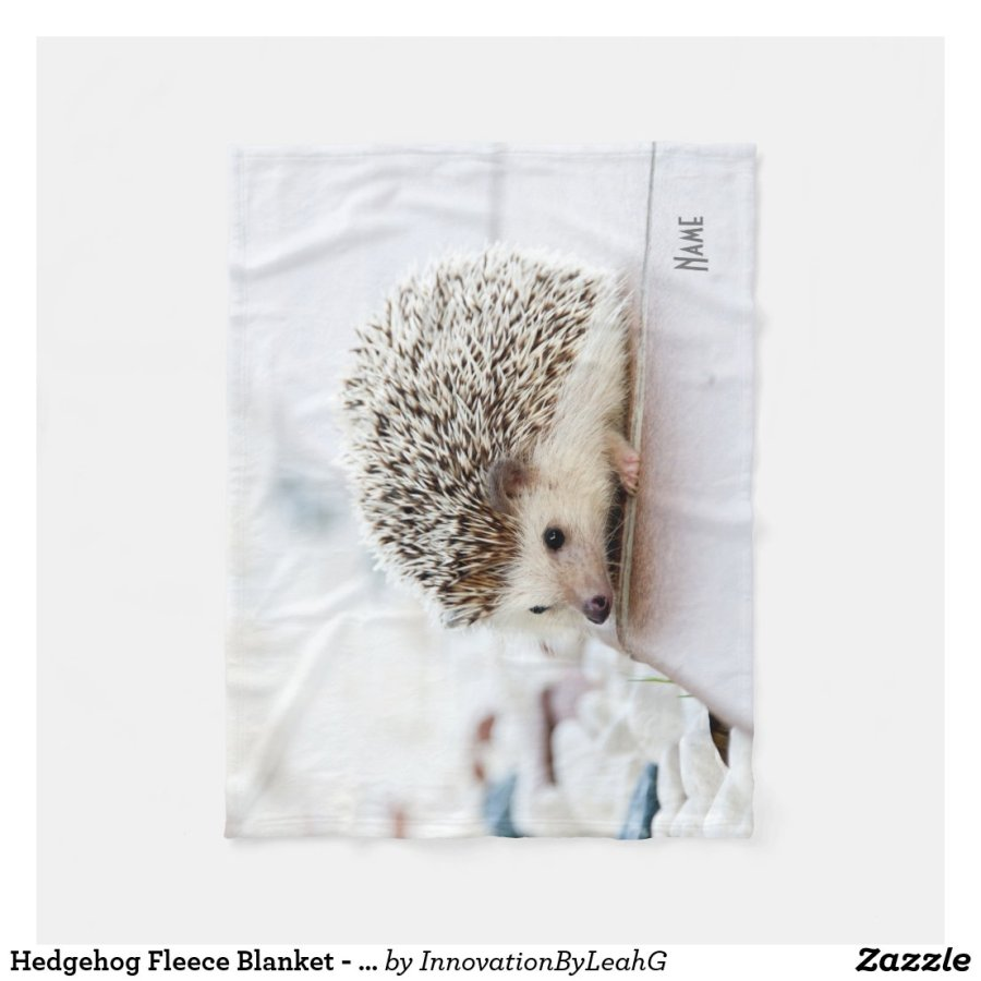 Hedgehog Fleece Blanket - Personalized with name