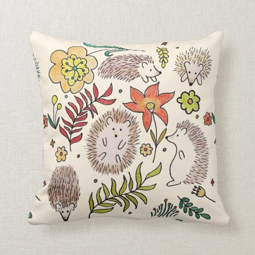 Hedgehogs Field Throw Pillow