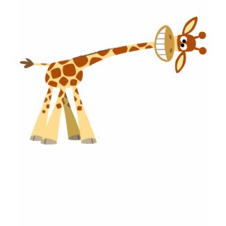 Hee Hee Hee!! cartoon giraffe children T-shirt shirt