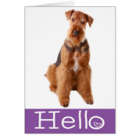 Hello Airedale Puppy Dog Purple Card - Verse