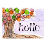 Hello & Thank You - Fun Leafy Tree Watercolor Postcard