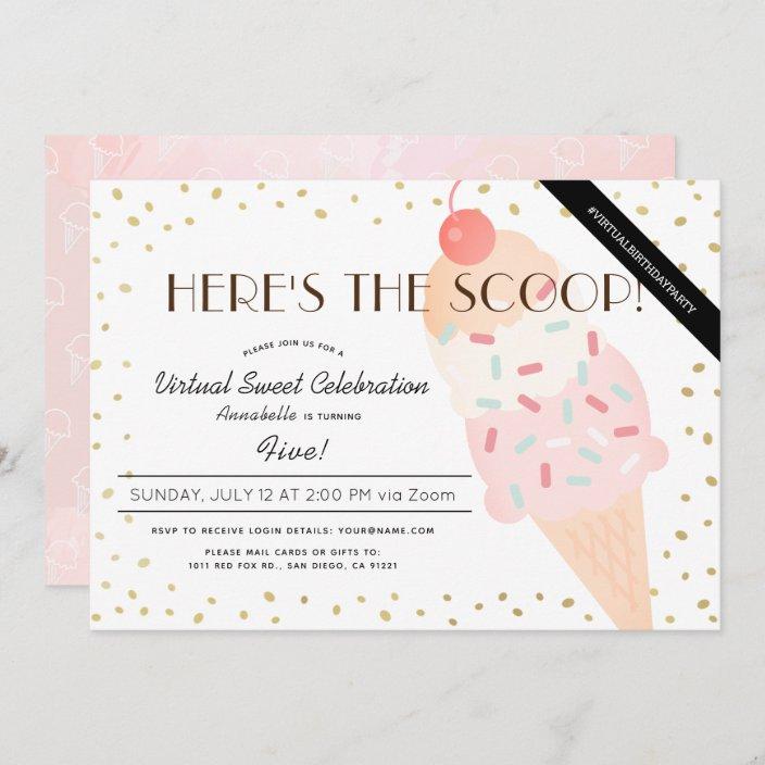 here s the scoop ice cream pink virtual birthday invitation zazzle com