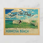Hermosa Beach Save The Date California Surfing Announcement Postcard