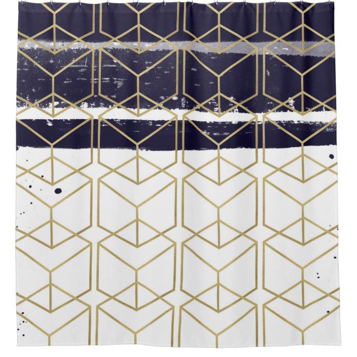 hexagon modern navy blue gold geometric glam shower curtain zazzle com