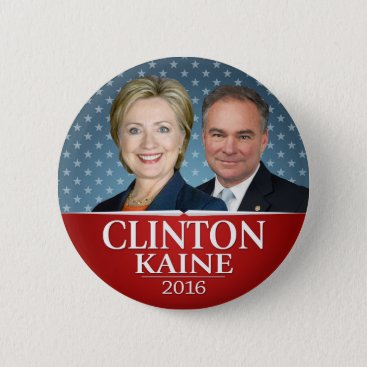 Hillary Clinton & Tim Kaine Jugate Photo Stars Pinback Button