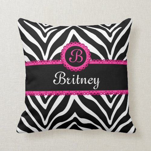 Hip Zebra Print and Lace Monogram Pillow