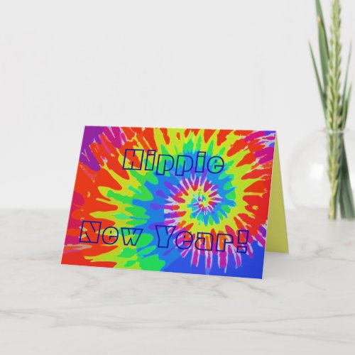 Hippie New Year Groovy Tie-Dye Card card