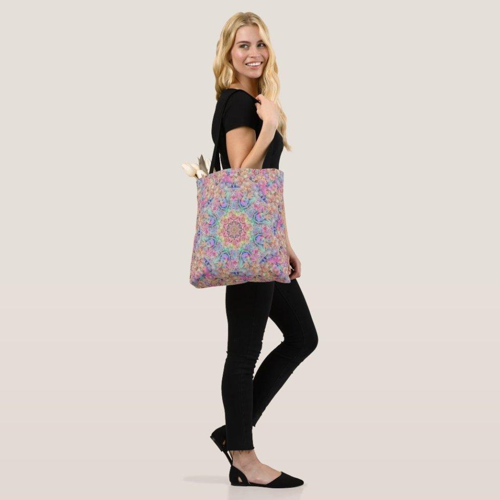 Hippie Pastel Colors Vintage Fractal Kaleidoscope Tote Bag
