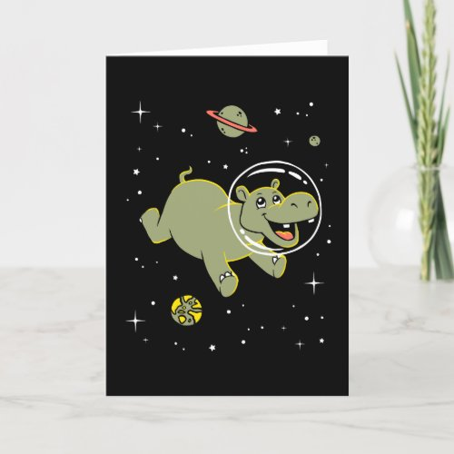 Hippo Animals In Space Card