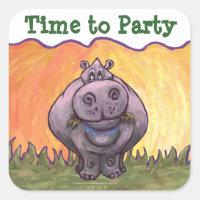 Hippopotamus Party Center Square Sticker