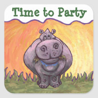 Hippopotamus Party Center Square Sticker