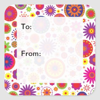 Hippy Rainbow Flowers Gift Tags sticker
