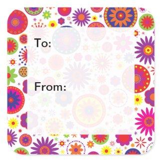 Hippy Rainbow Flowers Gift Tags sticker
