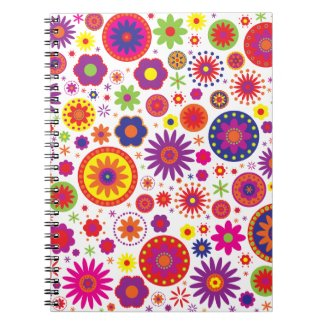 Hippy Rainbow Flowers notebook