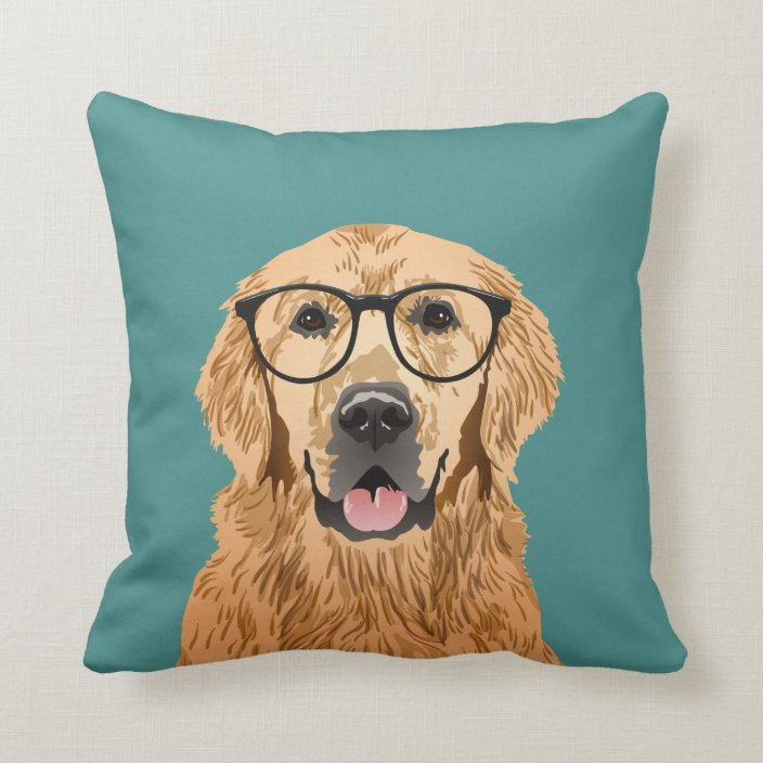 hipster golden retriever throw pillow zazzle com