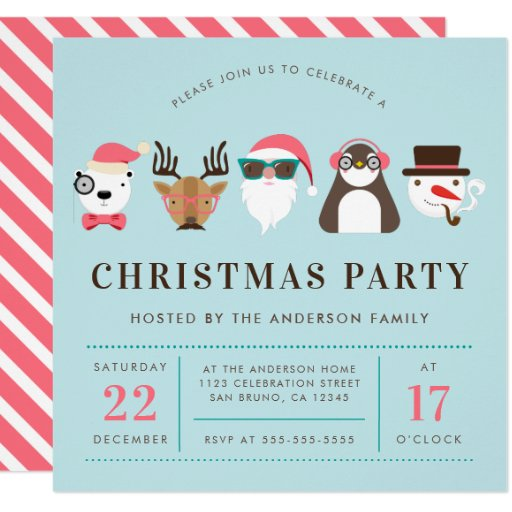 Hipster Santa & Friends Christmas Party Invitation