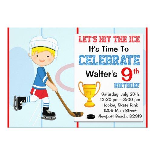personalized hockey birthday party invitations custominvitations4u com