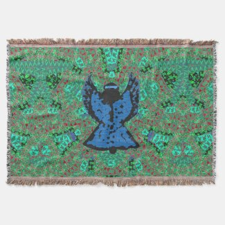 Holiday Angel Pattern Art Throw Blanket