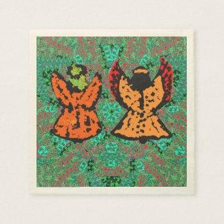 Holiday Festive Angel Pattern Art Paper Napkins