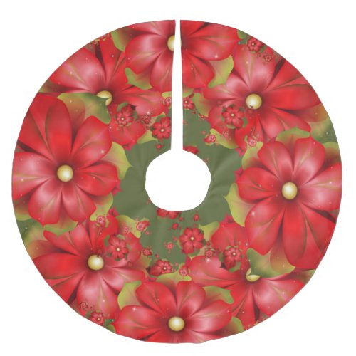 Holiday Floral Brushed Polyester Tree Skirt