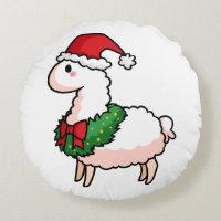 Holiday Llama Elf Round Pillow