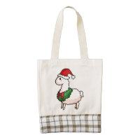 Holiday Llama Elf Zazzle HEART Tote Bag