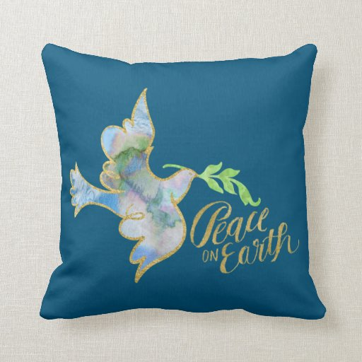Holiday Watercolor Dove Gold Peace on Earth Throw Pillow